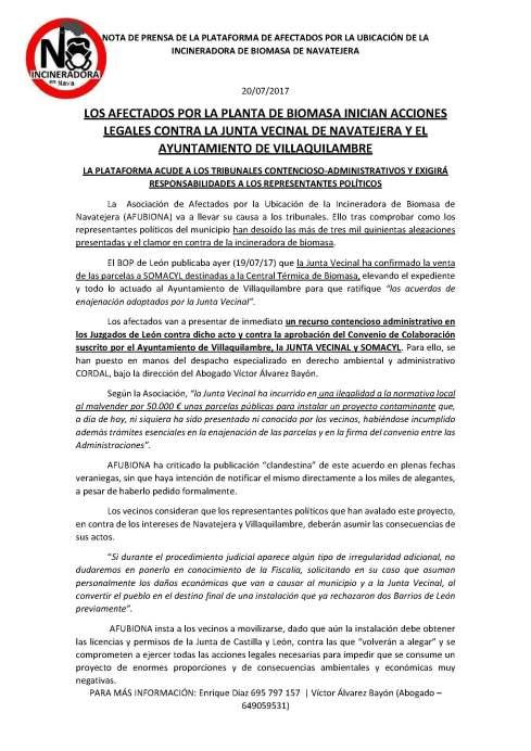 170720 Nota de prensa plataforma antiplanta incineradora biomasasnavatejera