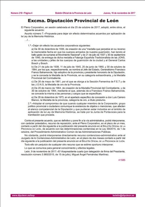 acuerdo anulación Acuerdos por aplicación Ley memoria histórica 2