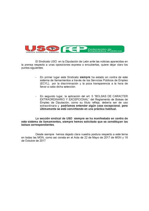 180108 comunicado USO